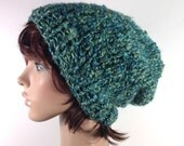 Knit Chunky Slouchy Beanie in Blue-Green Boucle