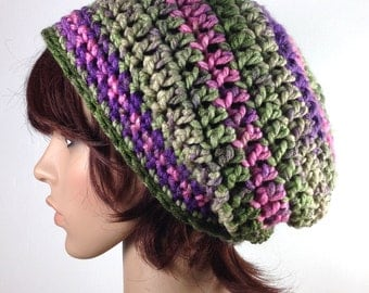 Chunky Slouchy Beanie in Rose Bouquet - crochet - pink, green, lavender variegated