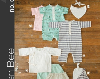 Green Bee Design & PATTERN - Modern Baby Layette Set