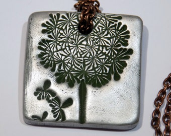 Dandelion Necklace Square Stamped Clay Pendant Necklace Long Antique Brass Chain