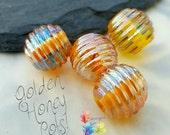Lampwork Beads Golden Honey Pots