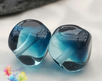 Lampwork Beads Glass Inky Blue Two Tone Nuggets Pair