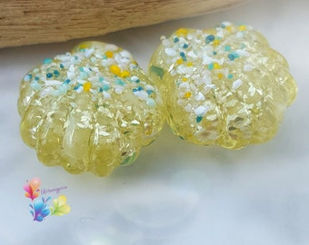 Lampwork Beads Sparkling Jonquil Fresh Breeze Shell