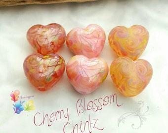 Lampwork Beads Cherry Blossom Chinz Hearts