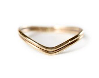 14k gold Curved Wedding Band - Gold wedding Ring - 14k Gold Stacking Ring