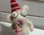 Christmas mouse needle felted ooak  art doll