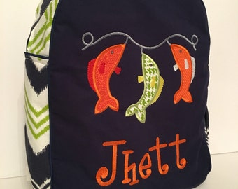 Custom Made Navy and Green Children's Backpack - shown with Fish on a String applique