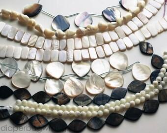 Free Shipping Destash - 8 Strand Lot Beads- Tahitian Mother of Pearl Brown White Natural Gemstones