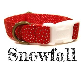 "Red Silver Dot Snow Snowflake Winter Dog Collar - Organic Cotton - Antique Brass Hardware - ""Snowfall"""