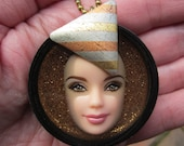 Upcycled Barbie Doll Face Pendant - Barbara