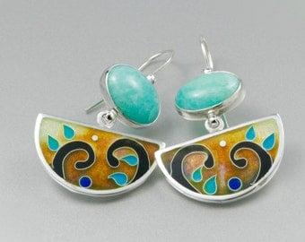 Cloissone Earrings, Amazonite Streling silver earrings