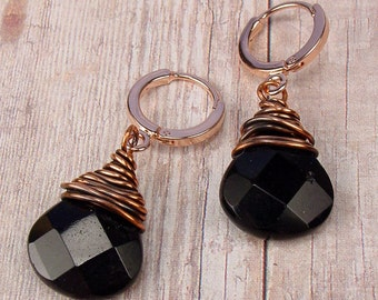 BASIC BLACK - Leverback Hoop Earrings with Large Copper Wrapped Onyx Faceted Briolettes