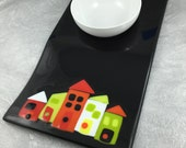 Wonky Houses Serving Platter Black with Colorful Houses Fused Glass and White Ceramic Bowl Perfect Housewarming Gift