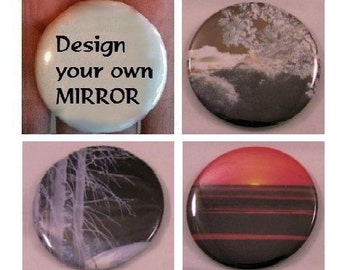 "Pocket mirror - Design your own - 2.25"" diameter - valentines gift, wedding favor, shower gift"