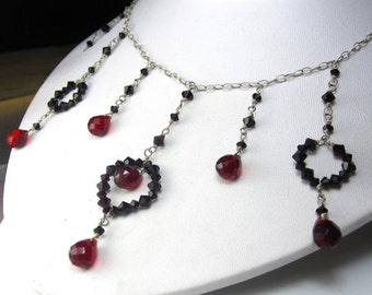 SALE Regal in Red Necklace - Swarovski Crystal and Sterling Silver