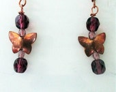 Copper Butterflies Earrings Handmade