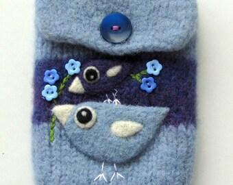Blue wool pouch bag purse cellphone cozy needle felted birdie bird flowers