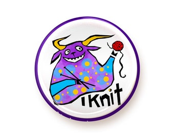 I Knit - button