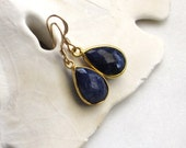 Natural Sapphire Earrings, Gemstone Slice Earrings, September Birthstone Earrings, Gemstone Earrings, Blue Gemstone Earrings, Riley