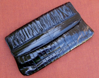 Vintage Black Eel Skin Clutch Purse, 80s, eelskin, fashion accessory, made in Korea