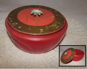 Vintage Avon Persian Wood Perfume Dusting Powder Red Glass Storage Jar Container, 60s, collectible, flower knob