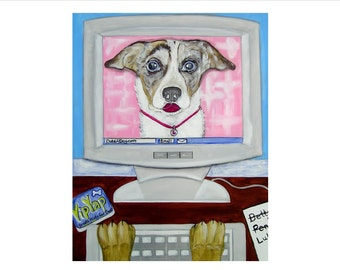 SALE - Original Acrylic Painting - Dog on Computer, Online dating, Dateadog.com,  OOAK, Folkart, whimsical, dog, 16X20, Art, Puppy Love