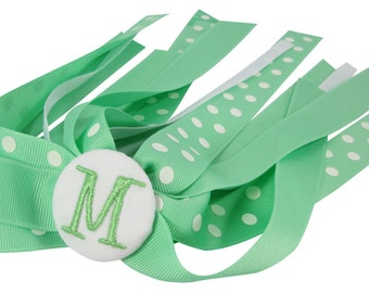 Mint Green Monogrammed Initial Ponytail bow streamer , ponytail holder, polka dot - personalized