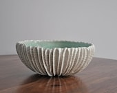 DISCOUNTED-  Extra Large Scallop Bowl Copper Blue - Ceramic Serving Bowl fruit bowl