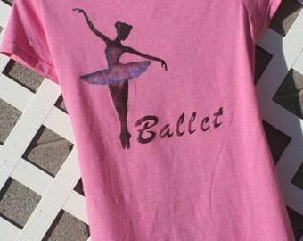 Ballet Dancer fitted Tshirt, Pink, Altered, shredded, junior size large