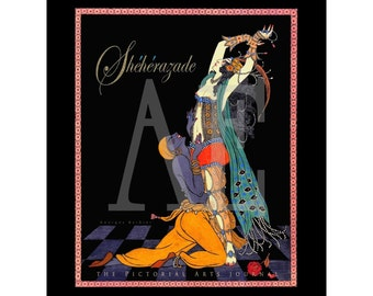VP-241 Vintage Poster Art - 8x10 Print - Georges Barbier - Art Deco Scheherazade Exotic Egyptian Lady - Also Available as 5x7s, Postcards
