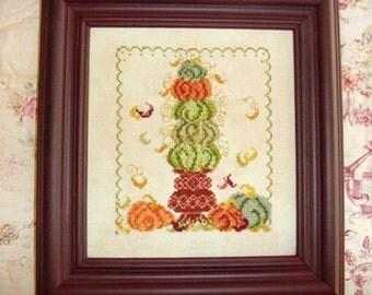 Autumn Pumpkin Topiary Cross Stitch Pattern