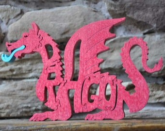 Fantasy Red Dragon Wood Puzzle Hand Cut with Scroll Saw Toy