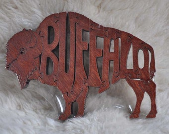 Buffalo Bison  Puzzle Wooden Animal Toy Cut with Scroll Saw