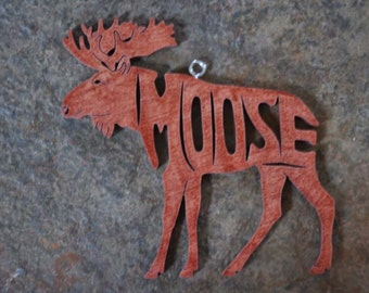 Moose Animal Christmas Ornament Wooden Toy Hand  Cut with Scroll Saw Rustic Cabin Decor