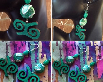 Afrocentric ,Adinkra ,Wooden ,Earring,Fashion,Jewelry