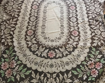 French lace tablecloth, white flowers table cloth, vintage withe tablecloth Reserved for Ingersoll