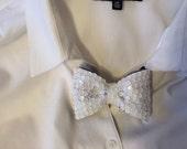 White Sequined Bow tie