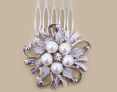 Bridal Pearl Hair Comb, Brooch Hair Comb, Rhinestone Brooch Hair Comb, Statement Bridal Hair Comb, Floral Bridesmaids Comb, Jewelry, SARAH