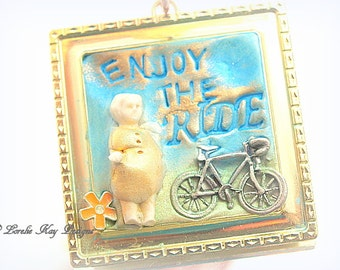 Enjoy the Ride Frozen Charlotte Ornament Tiny Framed Charlotte Doll Ornie Lorelie Kay Original