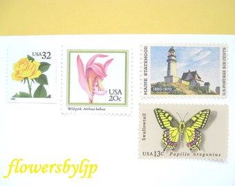 Wedding Postage Stamps, Maine Lighthouse, Pink Orchids Yellow Rose,  Mail 20 Nautical Invitations, 68 cents rustic postage stamps, 2 oz 2016