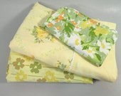 Vintage twin sheets, remixed twin sheet set, yellow sheet set, 1960s, flowr power, floral print, flower sheets, mid century modern sheets