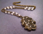 Leaf Necklace, White Luster Glass Beaded Chain, Brass and Rhinestone Necklace, FREE Shipping U.S.