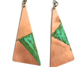 Triangle Copper and Patina Earrings