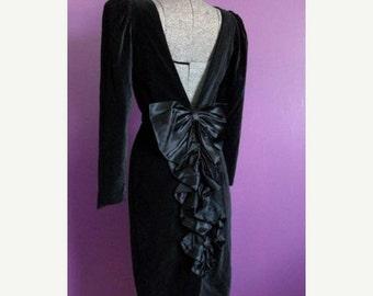 ON SALE Vintage Black Velvet Backless Dress Big Satin Bow Small Gothic