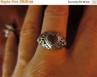 SALE Vintage Sterling Silver Purple Amethyst Heart Ring Size 6 Kasana