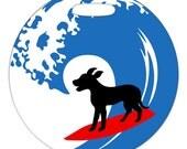 Luggage Tag - Surfing Dog - Round Plastic Bag Tag
