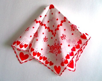 Vintage Valentine Handkerchief - Hearts and Flowers - Scalloped Hem