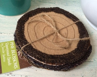 """Set of four """"Sawed LOG"""" Drink coasters from repourposed WOOLS"""