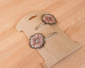 Flower Hair Clips - Hair Clips - Leather Hair Accessory - Kids Hair Clips - Aurora pattern with flowers in pink and white
