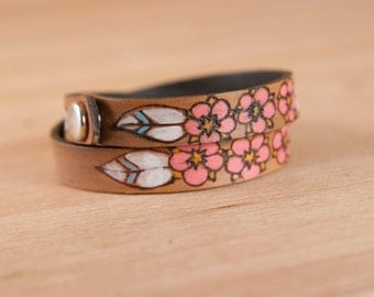 Leather Wrap Bracelet for Women - Double wrap skinny cuff with flowers - Dakota Pattern